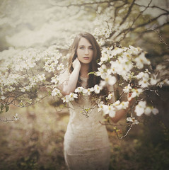 The Color of Innocence (Shelby Robinson) Tags: portrait brown flower tree girl canon hair rebel 50mm branch dogwood f18 teenage t1i