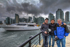 Hanging Out in Vancouver BC - HDR (David Gn Photography) Tags: friends sky canada water vancouver clouds marina pier boat bc waterfront buddies yacht britishcolumbia stormy joe hdr hangingout condominiums mikul mclaughlin coalharbor 3exp eyesplash canoneos60d sigma1020mmf35exdchsm