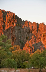 Winjanna Gorge, Kimberley, W.A. (Philip Schubert IMAGES) Tags: camping red cliff color tourism nature coral rock river landscape fossil nationalpark ancient colorful desert offroad wildlife australian scenic dry australia canyon dirt heat backpack crocodile limestone outback gorge remote rough geology dust kimberley reef range archeology arid extinct freshwater fourwheeldrive geological devonian lennard winjannagorge