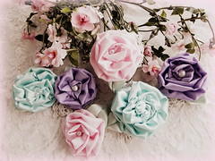 Spring roses in all colors... (AllThingsPretty...) Tags: pinkrose silkflowers shabbychic silkroses fabricflowers lavenderrose fabricroses