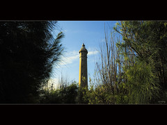 Khe Ga Lighthouse (-clicking-) Tags: lighting trees light shadow sky sunlight lighthouse sunshine architecture clouds landscape vietnam frame blueday frameinframe kg vietnameselandscape hingkheg