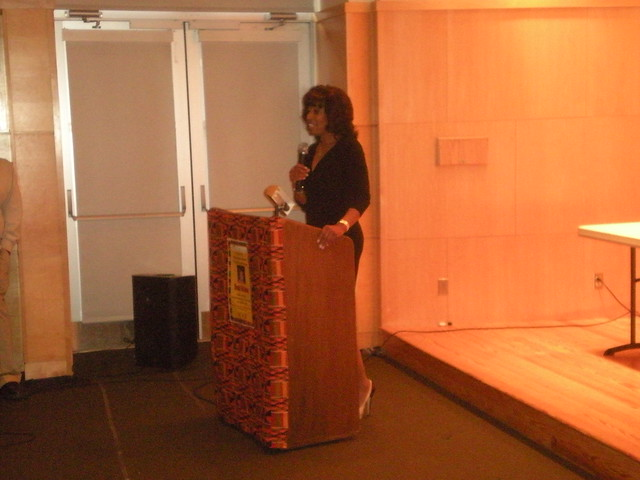 Brenda Blackmon of WWOR-TV at Montclair (NJ) Public Library