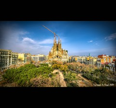 Sagrada Famlia Nr. 8 - View from rooftop over (Thanks to David) (LaTietze) Tags: church photoshop spain nikon europa europe sigma catalunya sagradafamilia hdr torreagbar spanien modernisme catalana topaz modernista antonigaudi katalonien eixample photomatix tonemapping templeexpiatoridelasagradafamlia bcnbarcelona d7000 mygearandme mygearandmepremium mygearandmebronze mygearandmesilver mygearandmegold mygearandmeplatinum sigma816