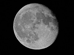 """Waning """"Worm Moon""""  - March 9, 2012  B&W (spacemike) Tags: sky moon mare charlotte space northcarolina luna craters crater astrophotography astronomy nightsky charlottenc lunar wormmoon charlottenorthcarolina astromike waningmoon sx30 sx30is spacemike"""