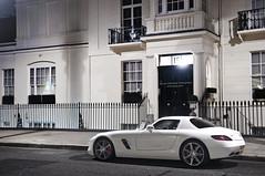SLS (Luke Alexander Gilbertson) Tags: white london night photography mercedes benz nikon long exposure power londres londra luxury f28 supercar v8 sls londen 300sl gullwing 2470 d700 lukegilbertson wwwlgapcom