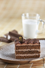 Chocolate Cake     (Fahad Al-Robah) Tags: wood morning brown cake breakfast milk propaganda chocolate announcement biscuit meal cocoa
