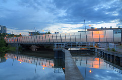 The Sickla Lock I (Henrik Sundholm.) Tags: clouds buildings reflections concrete lights highway sweden stockholm dusk lock sverige lamps kanal bushes railings hdr waterscape hammarby sickla nacka sdralnken sluss