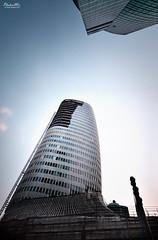 Ladder to the Top (Andy Brandl (PhotonMix.com)) Tags: china up vertical architecture nikon asia skyscrapers shanghai aspiration progress ladder development height bambooscaffolding lowangle lowpov d7000 photonmix
