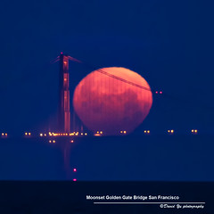 Moonset Over Golden Gate Bridge San Francisco (davidyuweb) Tags: sanfrancisco california bridge usa moon golden gate san francisco over super moonset sfist supermoon