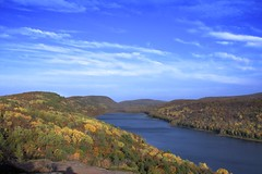 Lake of the Clouds (Reptilian_Sandwich) Tags: statepark blue autumn orange green leaves clouds forest walking gold woods hiking michigan air foliage ridge valley copper birch overlook breezy conifer afternoonlight accessible carpriver porcupinemountainswilderness