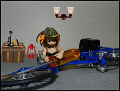 Bike Mechanic (MarilynTee) Tags: anime bike bicycle actionfigure revoltech jfigure oneobject365daysproject frauleinrevoltechharuhisuzumiyabunny