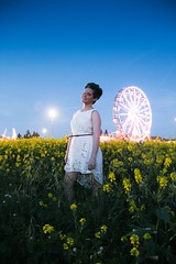 (UDY) Tags: california carnival flowers blue portrait sky woman white green girl beautiful smile field weather fashion wheel yellow lady youth night self canon hair festive landscape outdoors lights spring twilight long exposure dress young style fair ferris ferriswheel shorthair 18mm womanstyle canont3i