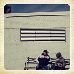 Benchwarmers (Robert S. Photography) Tags: colour men wall brooklyn bench coneyisland sitting pigeon talking canonpowershot 2014 a3400