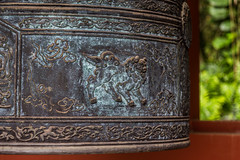 (lkaloti) Tags: detail geotagged temple photography hawaii bell oahu buddhist lion honolulu engraved lightroom kahaluu byodointemple japanesearchitecture canon6d thebyodointemple