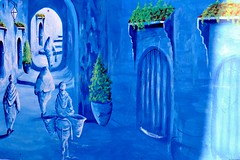 Fresque murale de Chefchaouen (Olivier Simard Photographie) Tags: africa street blue light streetart colors azul wall painting graffiti paint doors lumire couleurs tag wallart peinture bleu morocco berber maroc maghreb medina chaouen ruelle rue mur chefchaouen fresco opticalillusion andalusian rif riad artmural afrique fresque portes berbre mdina andalou traditionalclothing djellaba afriquedunord burnous vtementtraditionnel  artdesrues chefchaoun trompelil rifmountain bluerinsed   intangibleculturalheritageofhumanitybyunesco sebbanine bleudechefchaouen blueofchefchaouen massifdurif achawen patrimoineculturelimmatrieldelhumanitdelunesco