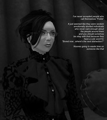 Woe To Them (alexandriabrangwin) Tags: world woman warning computer glasses blackwhite 3d graphics sitting sad being lounge over noone blouse business will secondlife virtual chase enjoys salon advice remote forever thrill contemplating cgi commentary updo chased alexandriabrangwin