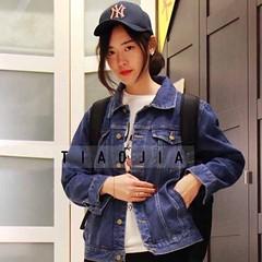 เสื้อแจ็คเก็ตยีนส์ ผู้หญิงผ้าหนาแฟชั่นเกาหลีแขนยาวเอวตรงยีนส์ฟอก ส่งออก ฟรีไซส์ สีน้ำเงิน - พร้อมส่งTJ7656 ราคา990บาท เสื้อแจ็คเก็ตยีนส์ผู้หญิงกันหนาวยีนส์ ตัวสั้นเอวตรงสวยเท่มากเป็นเสื้อแจ็คเก็ตยีนส์สไตล์แขนยาวผ้าหนาดีไซน์คลาสสิก ยีนส์สีฟอกแบบไม่สม่ำเสมอ