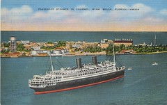 Miami Beach - Ocean Liner Postcard - n.d. (steveartist) Tags: oceanliners steamships miamibeach atlanticocean shipchannel