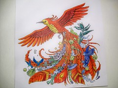Red Bird (Lynne M. B.) Tags: bird drawing coloring coloringbook colorpencils animorphia