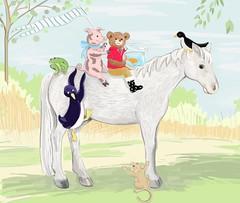 Pony Ride (Plumkin) Tags: original horse fish bird childhood animals children penguin book artist farm creative plum illustrations story pony fishbowl imagination crow plumovelgonne