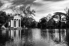 Tempio di Esculapio 2 (Plu80) Tags: villa borghese roma italy tempio di esculapio bianco e nero blackwhite black white bw park water light wood villaborghesemattinaroma