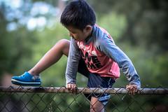 Logan V (r3ddlight) Tags: asianboy sonya6300 sony85mmgm kids child yard fence climb
