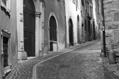 Bergamo Streets (esslingerphoto.com✈ (Off to Corfu and Sicily)) Tags: street bw white black texture stone europe doors eu cobble bergamo
