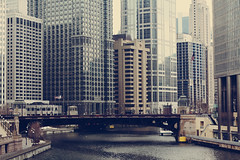 CHICAGO (lauren s_) Tags: city bridge chicago architecture buildings river illinois downtown cloudy michiganave