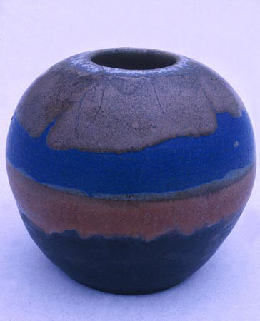 Landscape Jar, Stoneware, Height 10 Inches