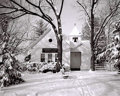Snow at Garrett Park Town Hall, 1977 (lreed76) Tags: snow md townhall 1977 garrettpark