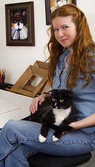 TaraFly in Studio with Dominic (taraflyphotos) Tags: portrait female illustration studio artist painter denim tuxedocat redhair draftingtable animalart blackandwhitecat catart catartist tarafly