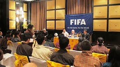 "Ugen Tshechup Dorji (Bhutan Football Federation President), Joseph S. Blatter (FIFA President) and Zhang Jilong (AFC President) during the Press Conference • <a style=""font-size:0.8em;"" href=""http://www.flickr.com/photos/76929546@N08/6829169894/"" target=""_blank"">View on Flickr</a>"