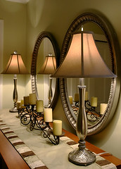 Interior Design (GMartinDesign) Tags: light stilllife house reflection home lamp vertical metal table gold mirror design cozy warm candle realestate interior unitedstatesofamerica rich warmth residential luxury inviting spaces wealth dcor neutral dcor foyercustom