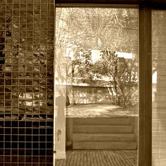 So walk with me on this new spring morning (TheManWhoPlantedTrees) Tags: selfportrait window glass lines metal wall sepia architecture stairs reflections garden square spring pavement tiles blinds adameve youthhostel picnik carrilhodagraça bsquare noahandthewhale arquitecturaportuguesa quadratum thefirstdaysofspring nikond3100 tmwpt todayiwokeupadayolder