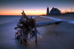 frozen dawn (dK.i photography (counting down)) Tags: lighthouse cold tree beach wet sunrise canon dawn frozen waves maryland driftwood fallen bluehour 370 predawn icicles chesapeakebay calvertcounty windchill 376 covepoint 5dmkii singhrayrgnd ef1740f40lusm
