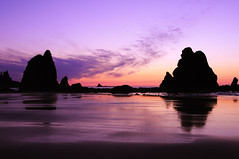 Sea Stack Sunset, Point of the Arches (David M Hogan) Tags: sunset reflection beach landscape nationalpark pacificocean olympicnationalpark seastack shishibeach pointofthearches
