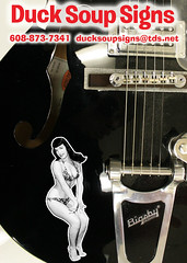 bettie rocks (robolove3000) Tags: wisconsin illustration sticker guitar vinyl decal bettiepage gretsch stoughton diecut ducksoupsigns 6088737341
