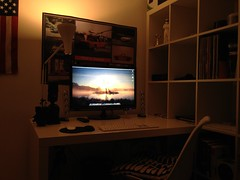 Jumped on the 3D Bandwagon (Ryan J. Nicholson) Tags: new white black ikea apple computer macintosh tv 3d chair nikon keyboard tech desk good xbox 360 lg monitor led glossy area third pro backlit dimension speakers lifes 4s kardon soundsticks harmon iphone d90 macbook