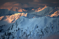 First Light (justb) Tags: park pink justin trees winter sunset red orange brown mountain snow mountains castle beautiful forest sunrise canon landscape hope colorful bc snowy north cascades range picket manning ridges provincial justb 40d