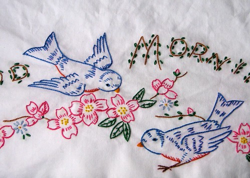 Birds and flowers pillowcase