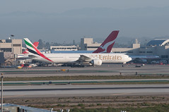 Emirates 777 at LAX (SBGrad) Tags: airplane losangeles airport nikon boeing nikkor 777 2012 alr d90 klax emiratesairline 777300er 80200mmf28dafs a6egf