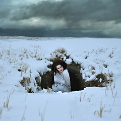 (emmakatka) Tags: selfportrait snow storm girl clouds self dark underground alone north emma pale cave dakota katka
