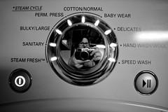 LG S/P, February 20, 2012 (Maggie Osterberg) Tags: bw selfportrait blackwhite nebraska lg lincoln fujifilm washingmachine x100 maggieo