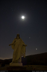 Moon, Jupiter, Venus, Jesus (Western Maryland Photography) Tags: longexposure sky moon cemetery graveyard statue stars venus christ nightshot tripod jesus maryland crescent galaxy planets astronomy jupiter lavale alignment milkyway canoneos7d cashvalleyroad restlawnsmemorialgardens