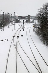 Tracks in snow (Steenjep) Tags: winter snow station vinter herning railway rails spor sne banegrd