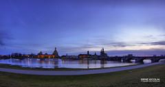 Dresden-Panorama (rene_dresden) Tags: sunset skyline dresden fisheye dmmerung altstadt frauenkirche panorma hofkirche semperoper augustusbrcke terrassenufer knigsufer