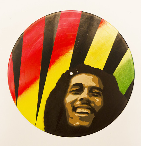Marley Smoking A Joint With Rasta Colored Smoke Sticker Decal