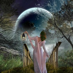 Wandering (ihave3kids) Tags: bridge moon grass night forest photomanipulation fence digitalart deviantart wanderer gaslight photoshopcompetition faestock wanderinggirl scarypath