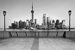 Pudong skyline (Sophie et Fred) Tags: china city bw skyline architecture cityscape shanghai pudong