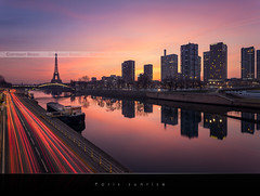 Paris sunrise | EXPLORED #1 | (Beboy_photographies) Tags: paris building tower seine sunrise de soleil tour eiffel rivire toureiffel hdr lever leverdesoleil fleuve immeubles photographies beboy beboyphotographies